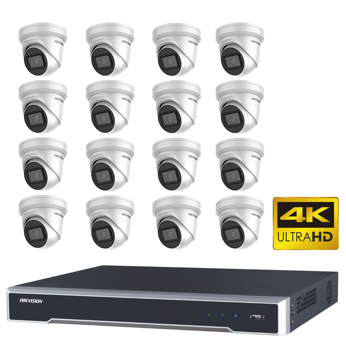 Hikvision 8MP 4K CCTV Kit with 16 IP Turret Camera with DS-7616NI-I2-16P NVR